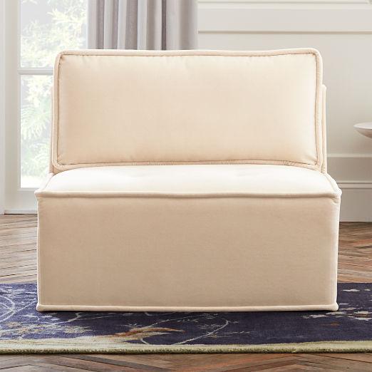 Quattro Snow Velvet Tufted Armless Chair