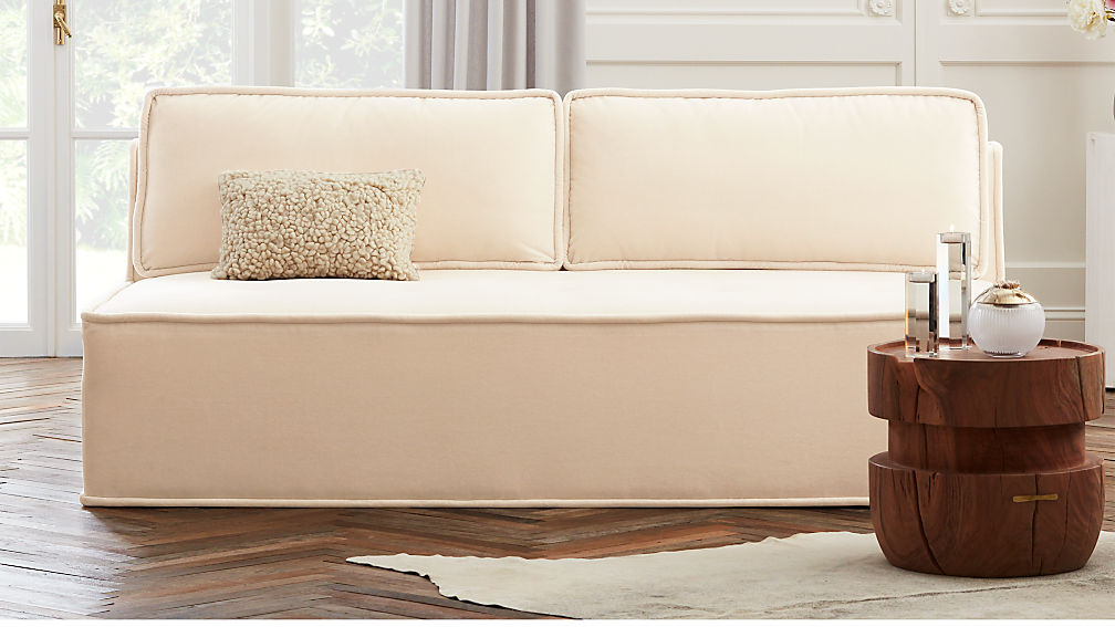 Quattro Snow Velvet Tufted Loveseat - Image 1 of 8
