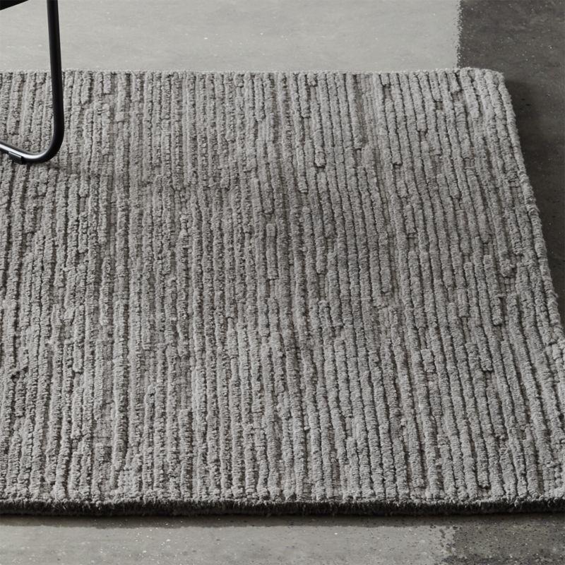 Elfen Grey Textured Wool Rug Cb2