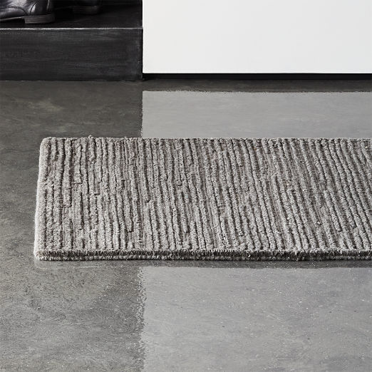 Elfen Grey Textured Wool Runner 2.5'x8'