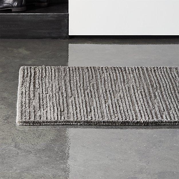 Elfen Grey Textured Wool Runner 2.5'x8' - Image 1 of 4