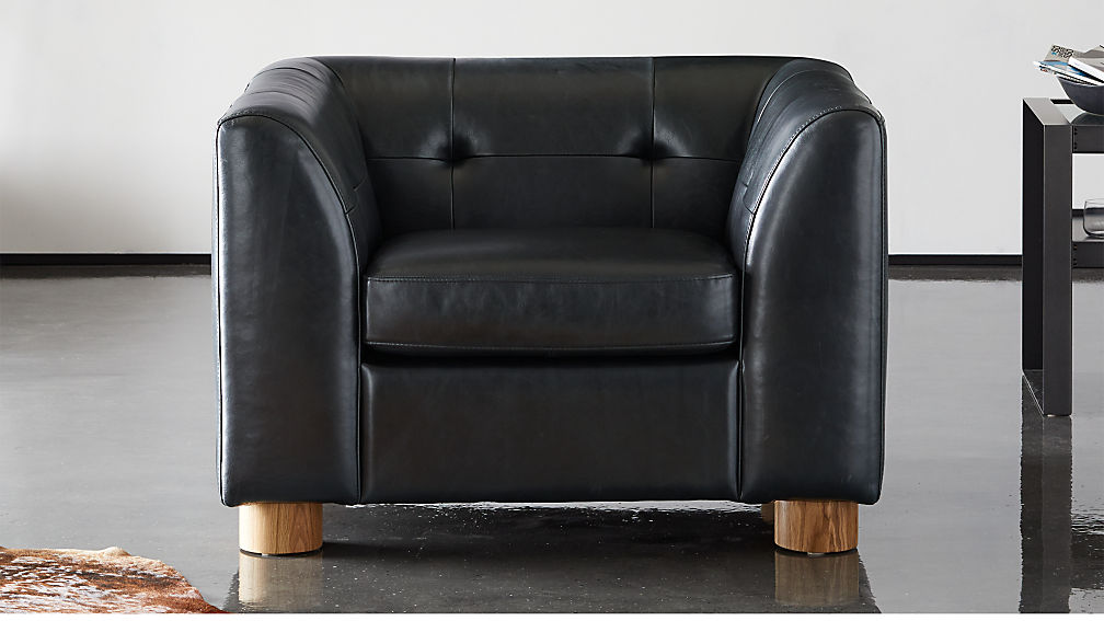Kotka Black Tufted Leather Chair - Image 1 of 9