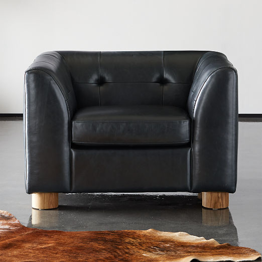 Kotka Black Tufted Leather Chair
