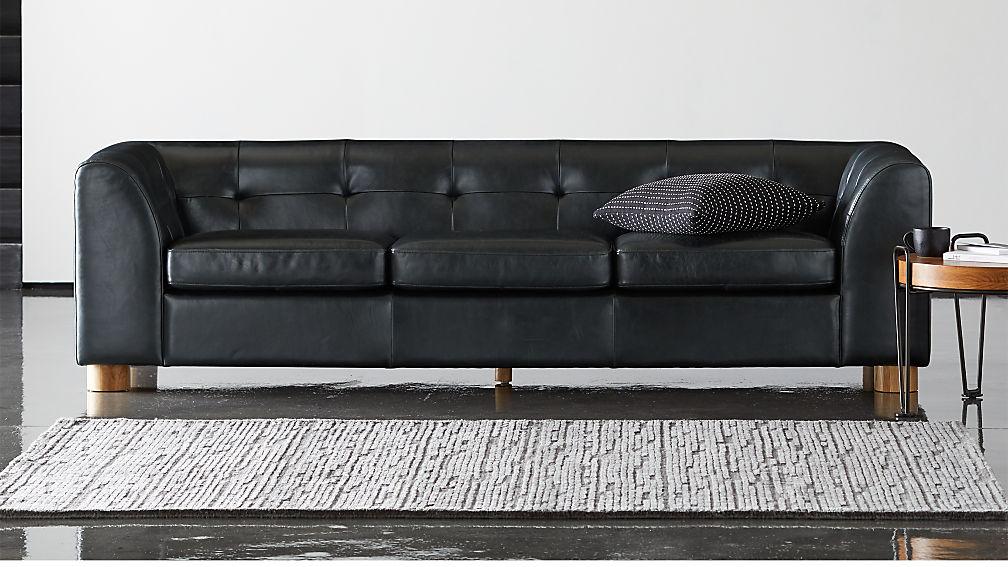 Kotka Black Tufted Leather Sofa - Image 1 of 7