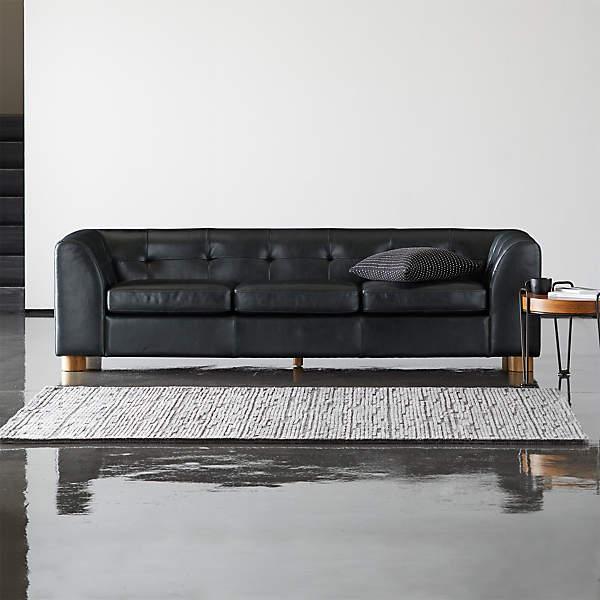 Kotka Black Tufted Leather Sofa, Black Leather Sofa