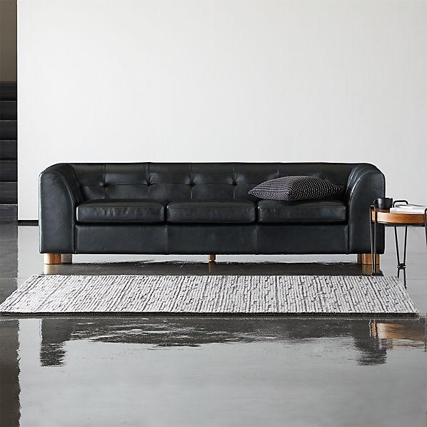 Kotka Black Tufted Leather Sofa + Reviews   CB2