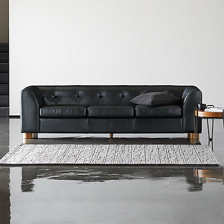 Kotka Black Tufted Leather Sofa + Reviews | CB2