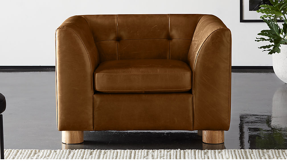 Kotka Tobacco Tufted Leather Chair - Image 1 of 7