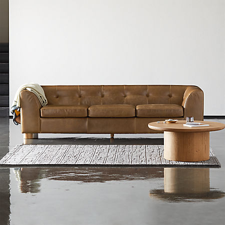 Kotka Tobacco Tufted Leather Sofa | CB2