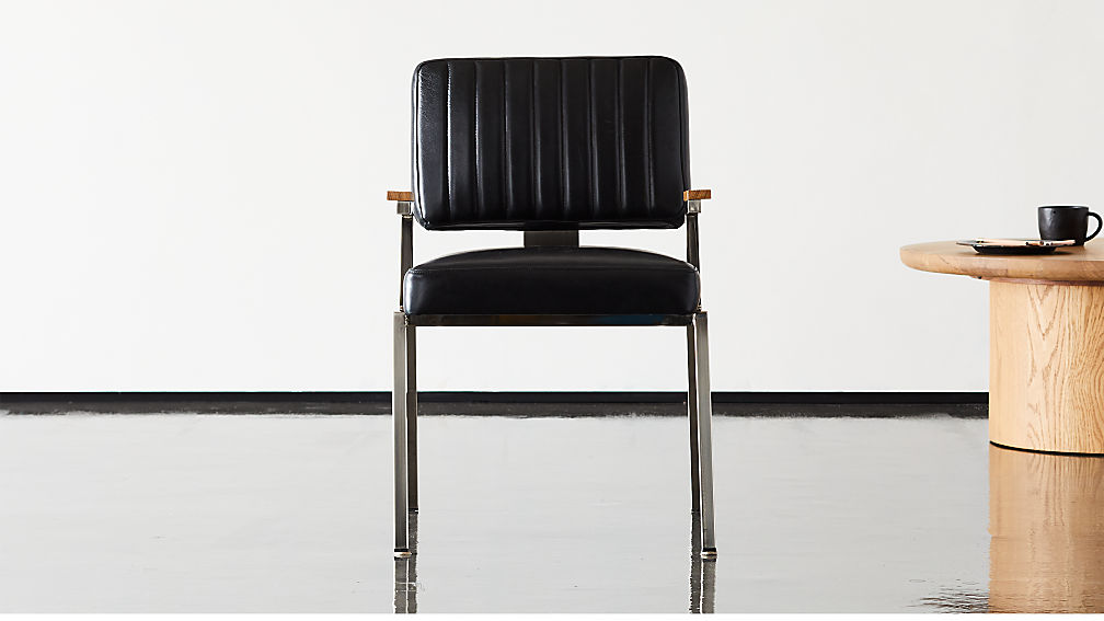 Krall Leather Dining Chair with Arms - Image 1 of 10