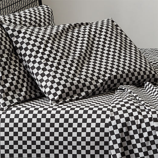 Speciale Grey and Black Checkered Sheet Set Twin