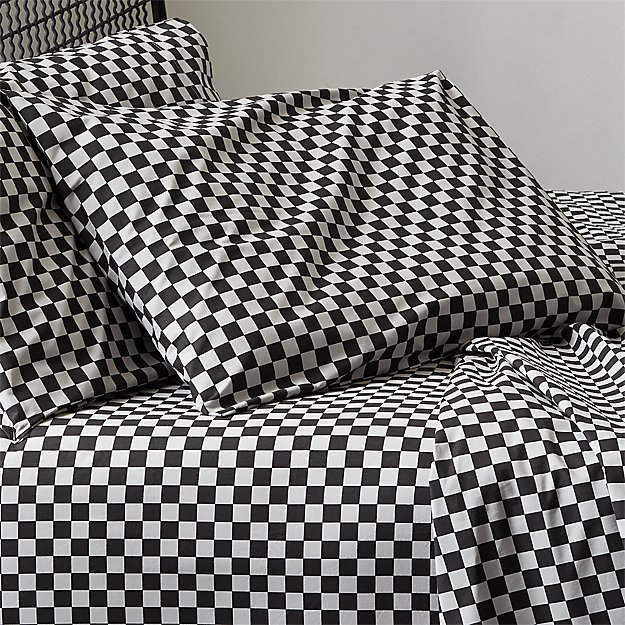 Speciale Grey and Black Checkered Sheet Set - Image 1 of 5
