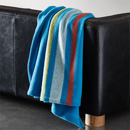 Wendover Blue Wool Striped Blanket