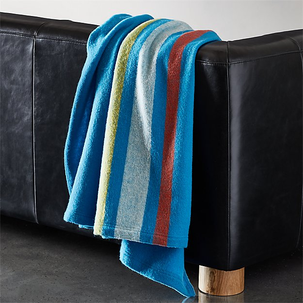 Wendover Blue Wool Striped Blanket - Image 1 of 6