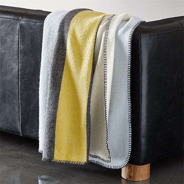 Wendover Neutral Wool Striped Blanket - Image 1 of 9