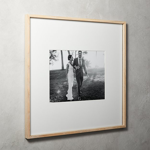 Gallery Oak Picture Frames with White Mat 11x14 + Reviews   CB2