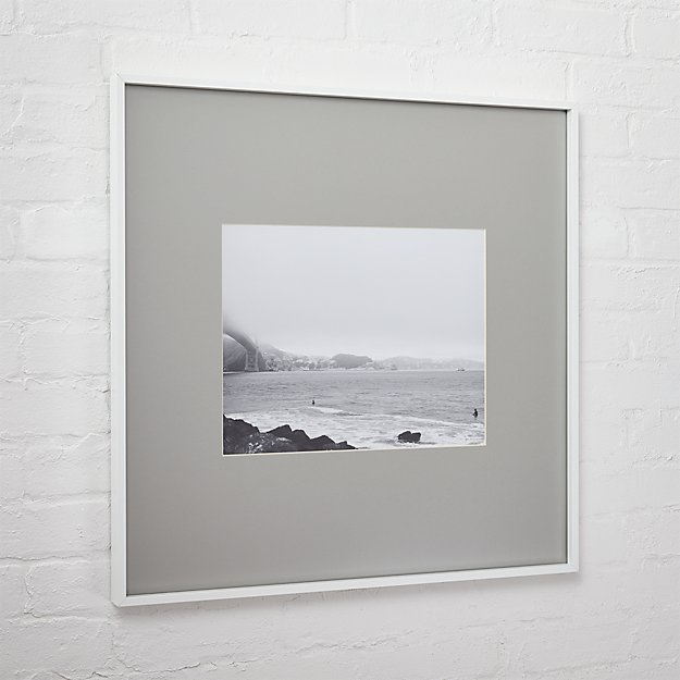 gallery white 11x14 picture frame with grey mat + Reviews | CB2