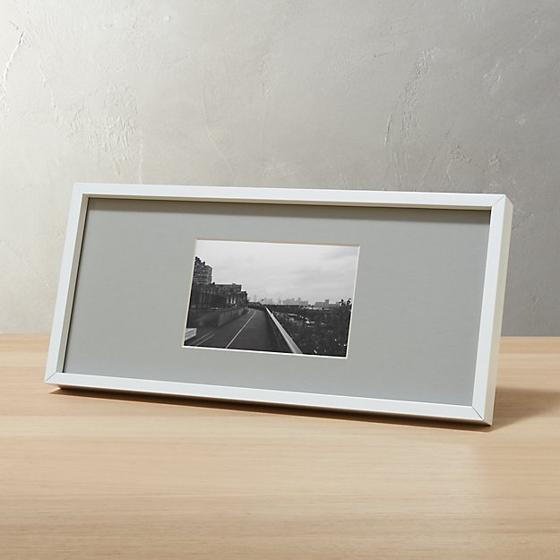 Gallery White 4x6 Picture Frame With Grey Mat Reviews Cb2