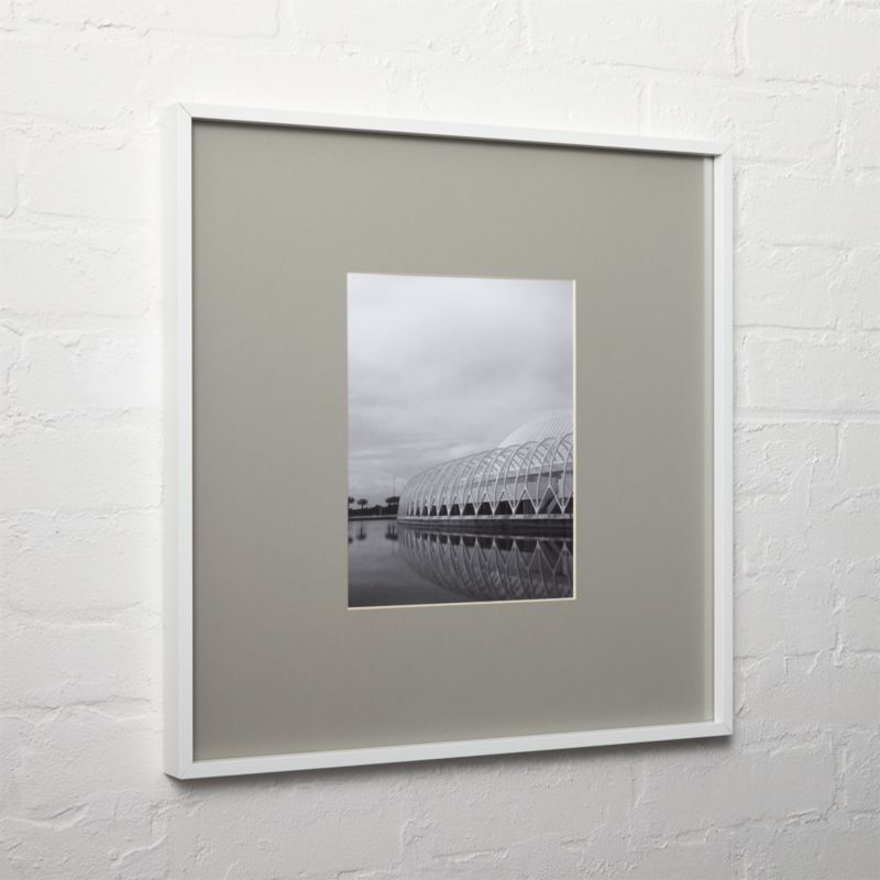 gallery white 8x10 picture frame with grey mat + Reviews   CB2