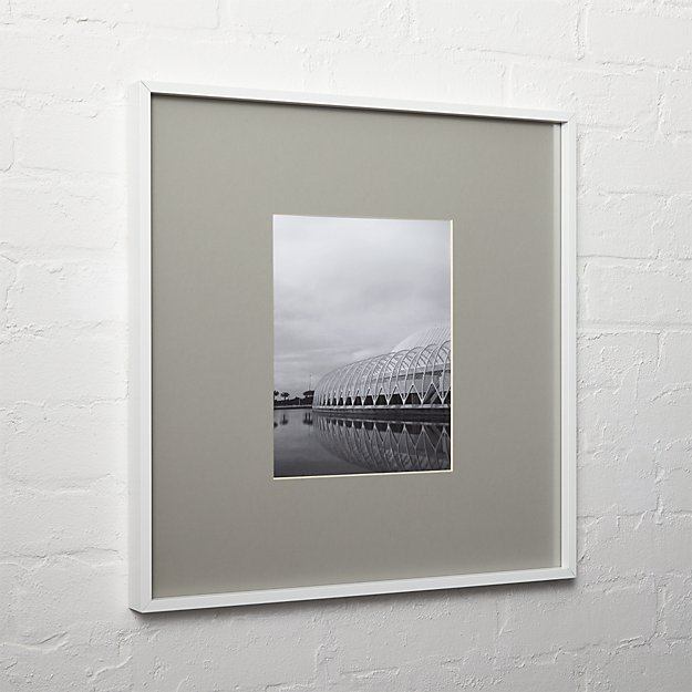 gallery white 8x10 picture frame with grey mat
