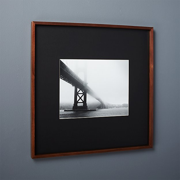 gallery walnut 11x14 picture frame with black mat + Reviews | CB2