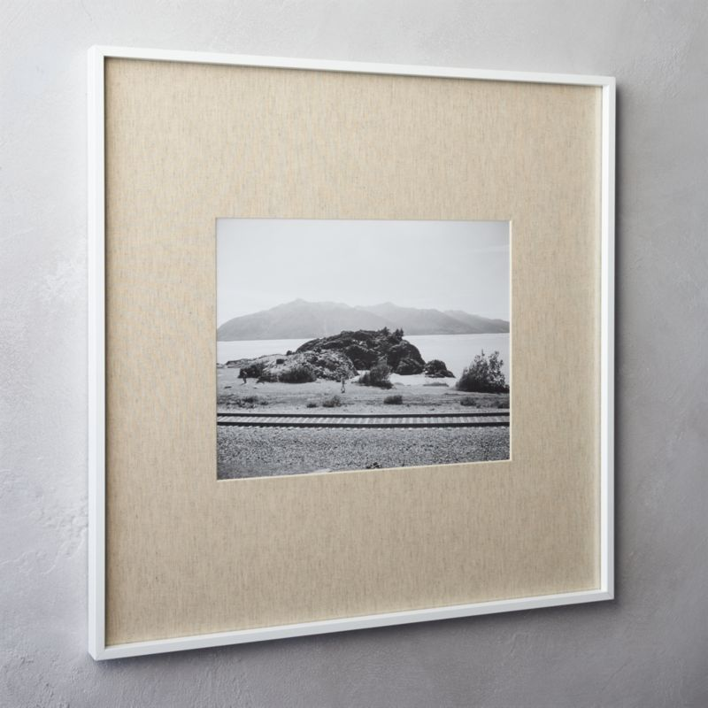 gallery white 11x14 picture frame with linen mat + Reviews | CB2