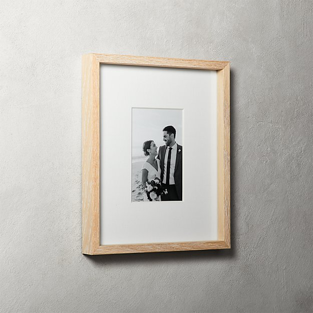 Gallery Oak Picture Frames with White Mat 4x6 + Reviews | CB2