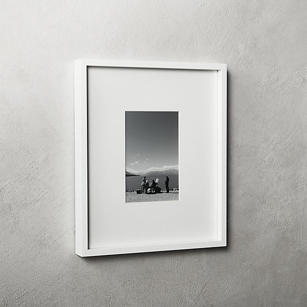 Gallery White Frame with White Mat 4x6 + Reviews | CB2