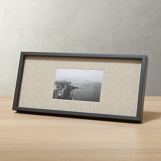 gallery black 4x6 picture frame with linen mat. + Reviews | CB2