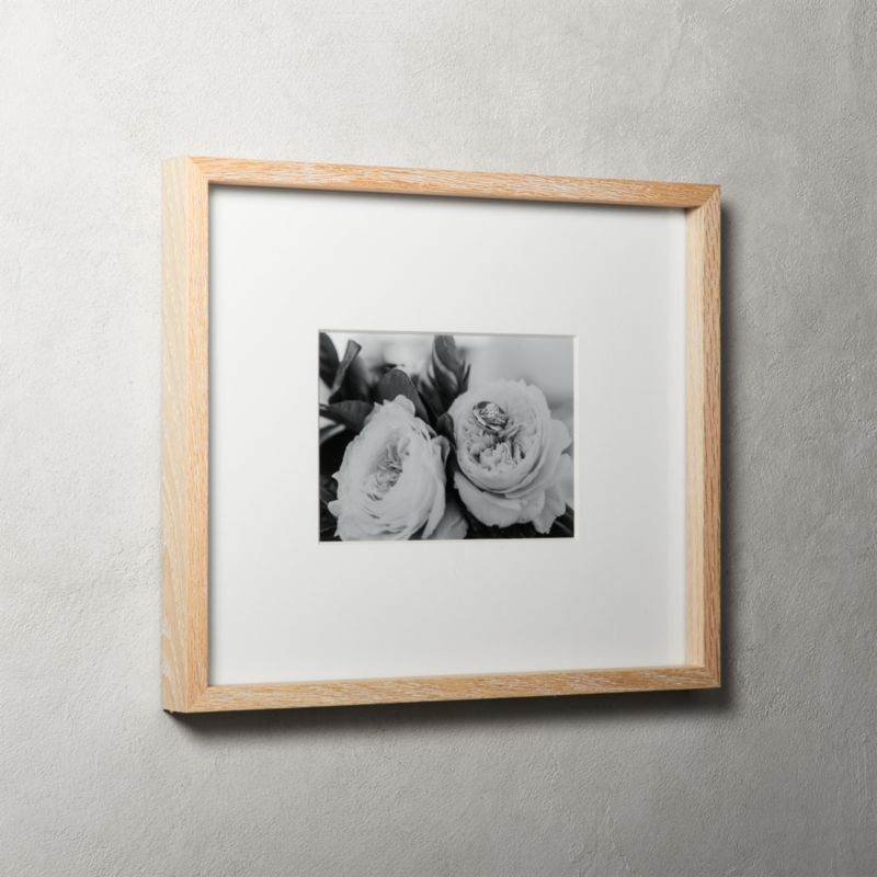 Gallery Oak Picture Frames With White Mat 5x7 Reviews Cb2
