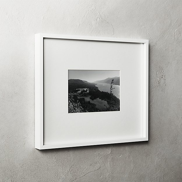 Gallery White Frame with White Mat 5x7 + Reviews | CB2