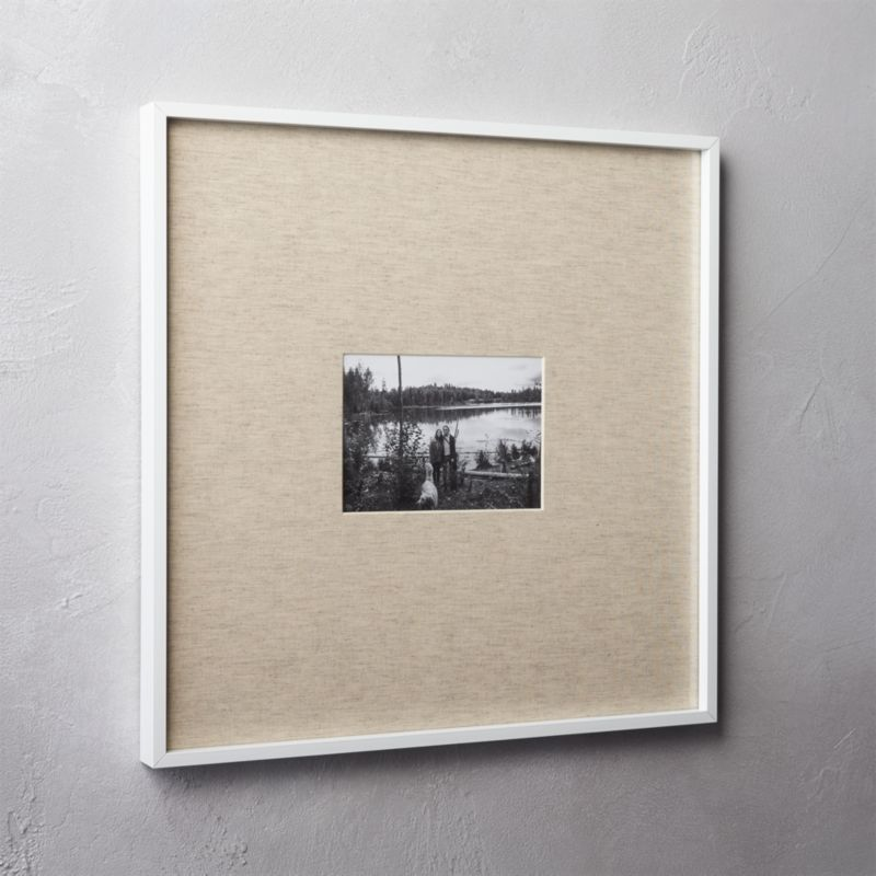 gallery white 5x7 picture frame with linen mat + Reviews | CB2