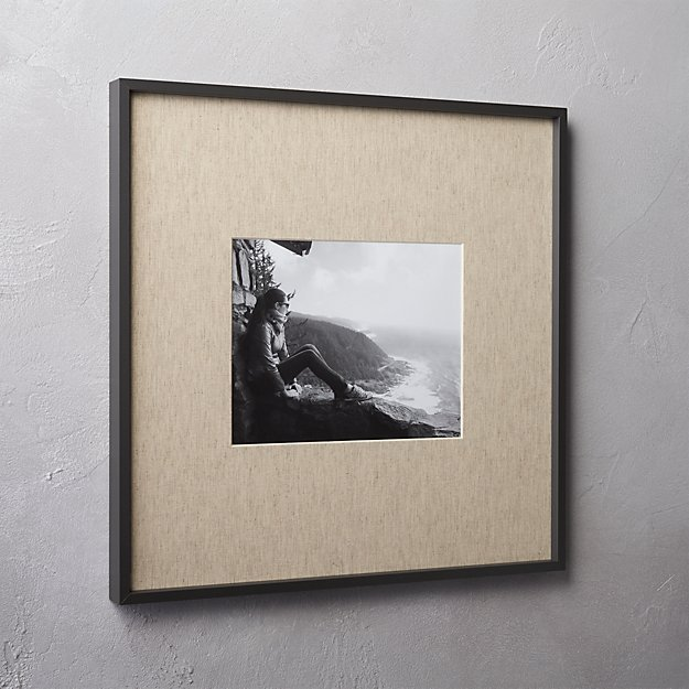 gallery black 8x10 picture frame with linen mat. + Reviews | CB2