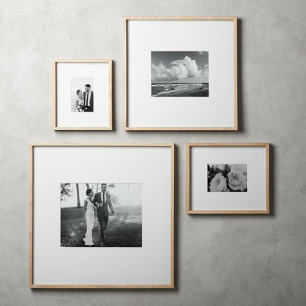 Gallery Oak Picture Frames with White Mats | CB2