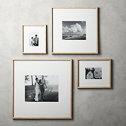Gallery Oak Picture Frames With White Mats
