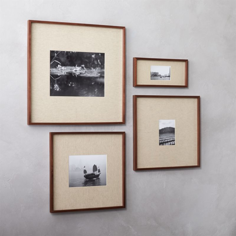 gallery walnut picture frames with linen mats | CB2