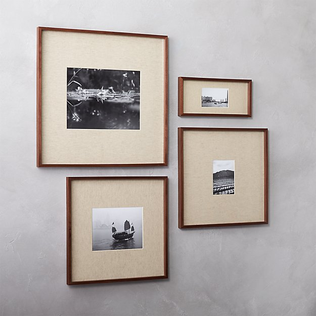 Gallery Walnut Picture Frames With Linen Mats Cb2