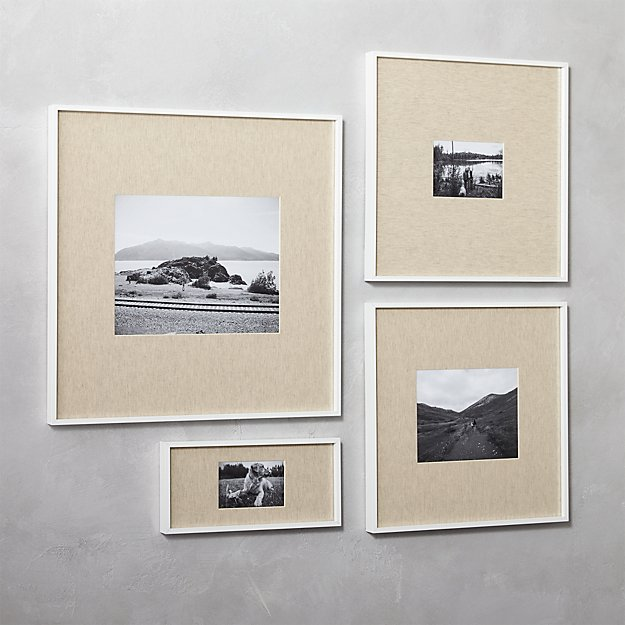 gallery white picture frames with linen mats | CB2