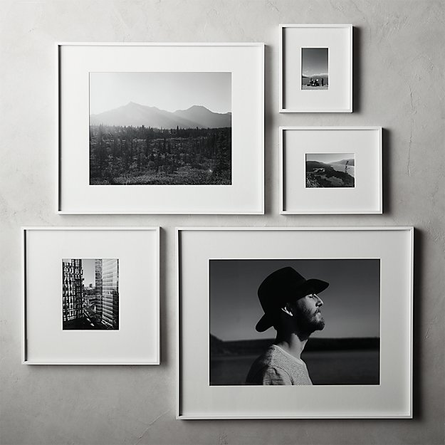 Gallery White Frames with White Mats | CB2