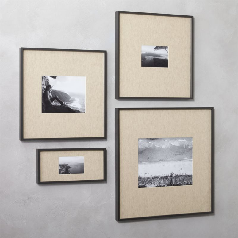 gallery black picture frames with linen mats | CB2