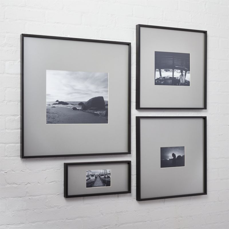 gallery black picture frames with grey mats | CB2