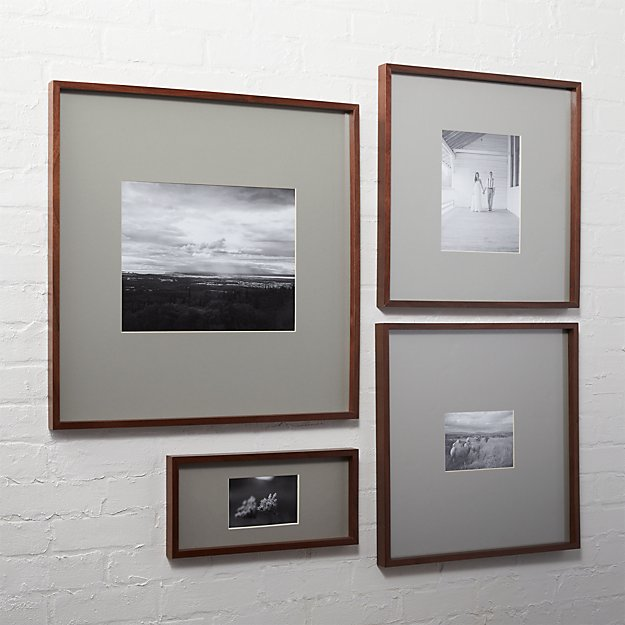 gallery walnut picture frames with grey mats | CB2
