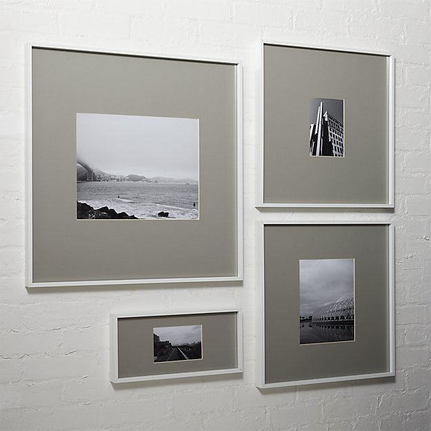 gallery white picture frames with grey mats | CB2