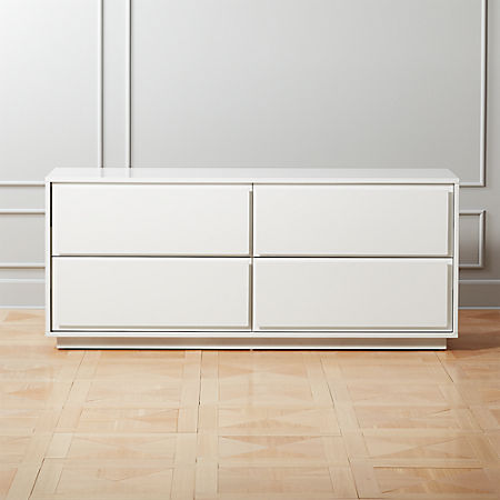 Gallery White 4 Drawer Low Dresser