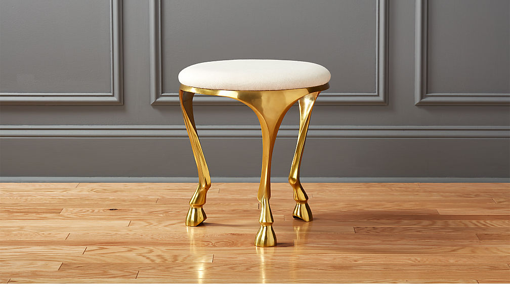 Beau Gallop White And Gold Stool + Reviews | CB2