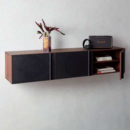 Gather Leather Wall Mounted Storage Cabinet