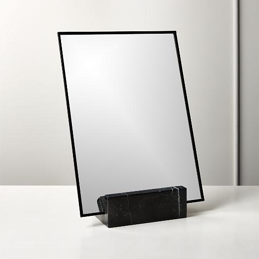 "Gaze Black Marble Vanity Mirror 10.25""x14.5"""