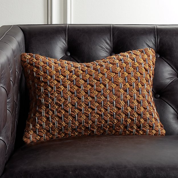 """18""""x12"""" Geema Copper Woven Pillow - Image 1 of 6"""