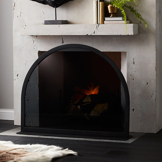 Arch Smoked Glass Fireplace Screen