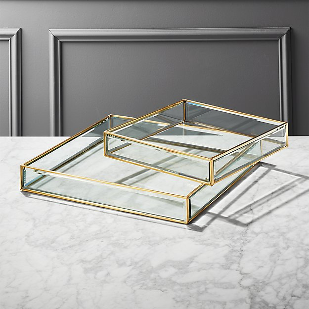 Brass and Glass Trays - Image 1 of 10